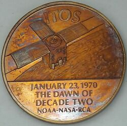 1971 Franklin Mint Itos / Tiros 1 Bronze Nasa Space Medal Proof Toned Color Dr