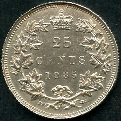 1885 Canada 25 Cent Silver Coin Curved 5 5.81 Grams .925