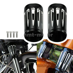 Black Cnc Cut Fork Boots Slider Cover Fit For Touring Electra Glide 1980-2013