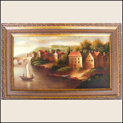 Americo Cala Medieval Village Original Acrylic Painting Framed One Of A Kind