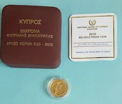 Cyprus Gold Proof Coin Of 20 Euro 2010 - 50th Anniversary Of The Rep. Of Cyprus