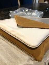 San Edelman Mila Clutch Suede 2 In 1 Leather Natural Color And White $40.00