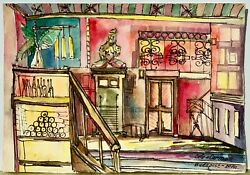 Original Watercolor Painting On Paper From Artist Cafe Interior Budapest Signed