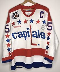 1991-1992 Rod Langway Washington Capitals Jersey Signed 75th Anniversary Nhl