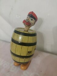 Vint Man In Barrel J Chein Tin Litho Wind Up Toy Very Clean Work With Assistance