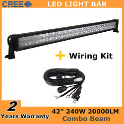 42inch 240w Led Light Bar Offroad 4d Lens Driving Gmc Chevy + Wiring Kit 40/43