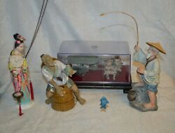 Lot Of Asian Figurines_two Fisherman, Geisha, And Carriage