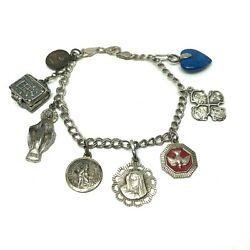 Vintage Sterling Religious Medal Charm Bracelet Silver 8 Charms 7 1/8