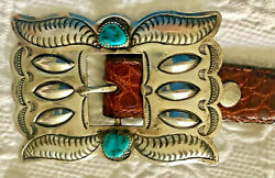 Signed Navajo Sterling 8 Concho Alligator Belt Tim Kee Whitman Turquoise Nugget