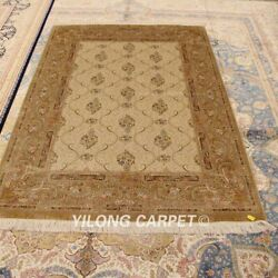Yilong 4.5and039x6.5and039 Golden Handmade Carpets Porch Hand Knotted Silk Area Rug Zz143