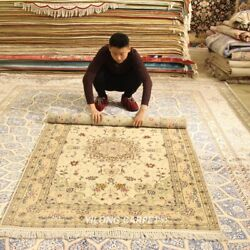 Clearance Yilong 4and039x6and039 Pure Handmade Wool Rug Hand Knotted Woolen Carpets 2098
