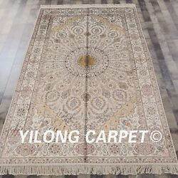 Yilong 5'x8 Dome Pattern Handmade Antique Silk Area Rug Hand Knotted Carpet 060b