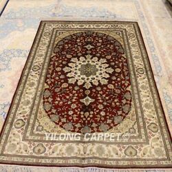 Yilong 4and039x6and039 Red Handmade Classic Silk Carpet All Over Hand Craft Area Rug 014b