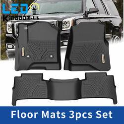 All Weather Floor Mats Liners For 2015-2020 Chevy Tahoe Black Set 1st And 2nd Row