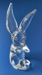 Daum France Crystal Art Glass Bunny Rabbit - 10 Inches Tall - Signed To Base
