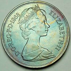 1968 Great Britain 10 New Pence Blue Golden Unc Toned Stunning Color Bu Dr