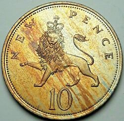 1968 Great Britain 10 New Pence Unc Monster Green Yellow Toning Bu Color Dr