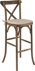 Bistro Style Cross Back Dark Antique Wood Restaurant Barstool With Seat Cushion