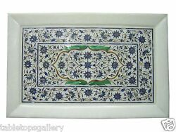 12x18 White Marble Design Tray Plate Lapis Mosaic Marquetry Inlaid Gifts H1165