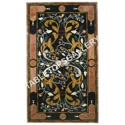 5'x3' Black Marble Dining Table Top Inlay Pietra Dura Home Decor Furniture E614