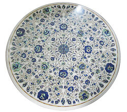 30 Marble Round Coffee Table Top Lapis Lazuli Mosaic Inlay Deco Furniture H1937