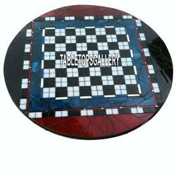 Center Top Marble Console Dining Chess Inlay Design Table Mosaic Fine Art H4021a