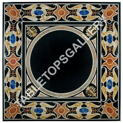 48 Black Marble Dining Table Top Mosaic Handcrafted Inlay Furniture Decor E617a