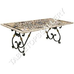 5and039x3and039 White Marble Dining Table Top Fine Marquetry Inlay Garden Decor Arts E626