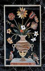 24x55 Black Marble Dining Center Table Top Floral Inlay Art Home Decor H1539
