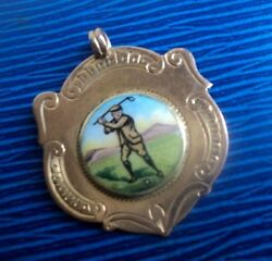 Early 9ct Rose Gold And Enamel Golfing Golf Fob Medal H/m 1923 Not Engraved