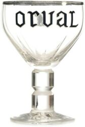 Orval Belgian Brewery Beer Chalice Tulip Goblet Glass Enameled Rim Collector