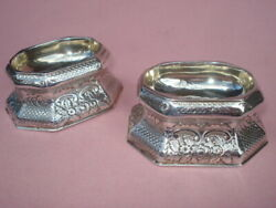 Pair Of English Sterling Salt Cellar's Trenchers Circa 1789 By James Walters