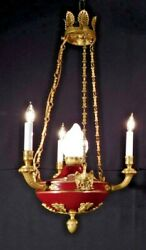 Antique 3 Arm 4 Light French Empire Flame Eagle Chandelier