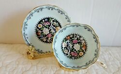 Paragon China Tea Cup And Saucer By Appointment Black W Flowers And Mint Green
