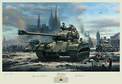 M26 Pershing Tank Print Autographed By Clarence Smoyer, 3rd Armored Division