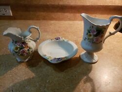 3 Lefton Hand Painted Floral Pattern China Bowl, Cups, Kw4496, Kw3221,