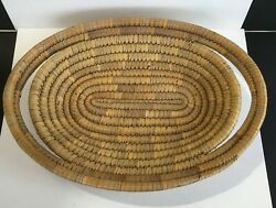 Woven Coil Beige Basket Tray with Handles Wall Hanging Decor