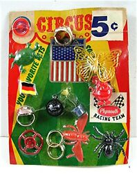 Rat Fink 5 Cent Asst Charms Toy Prizes Old Gumball Vend Machine Display Card 148