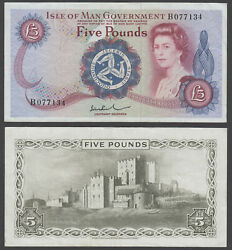 B3 Isle Of Man 5 Pounds 1972 Vf+ Condition Banknote P-30b Qeii