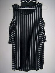 WOMENS BLACKWHITE STRIPE TUNIC OPEN SHOULDER BLOUSE~SZ LARGE~ GR8 SUMMER BUY !!