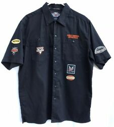 Harley Davidson Black Button Front Shirt Patches Embroidery Logo Sz Large