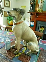 RARE LIFE SIZED GERMAN EUROPEAN TERRACOTTA HOUND TERRIER DOG VICTORIAN GNOME