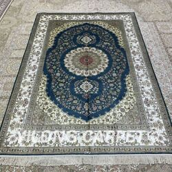 Yilong 4.5and039x6.5and039 Classic Handmade Silk Blue Carpet Antistatic Home Rug H315b