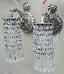 Pr Vintage Silver Brass Fountain Waterfall Lily Crystal Prism Lamp Shell Sconces