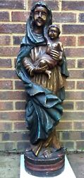 Very Large 17th C. Carved Wood And Polychromatic Madonna And Child