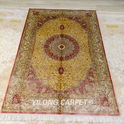 4x6ft Hand Knotted Area Rug Antique Golden Hand Craft Silk Carpet 392