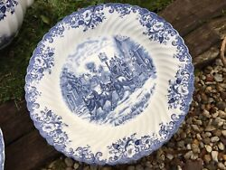 Grand Plat Rond Coaching Scenes Service Johnson Brother Porcelaine Anglaise