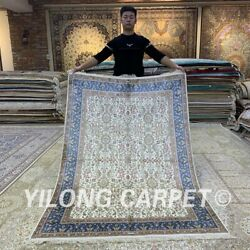 Yilong 4.5and039x6.5and039 All-over Handmade Silk Carpet Home Decor Indoor Area Rug H314b