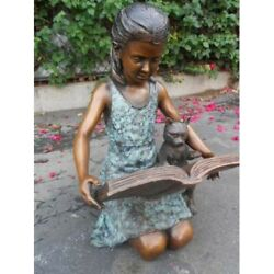 Girl With Cat Reading Book Cast In Bronze