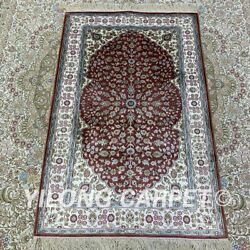 Yilong 2.5'x4' Red Handknotted Silk Carpet Family Interior Oriental Rug H198b